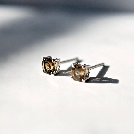 Smoky quartz stud earrings