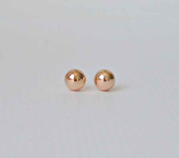 Ball stud earrings in rose gold or yellow gold - 10mm