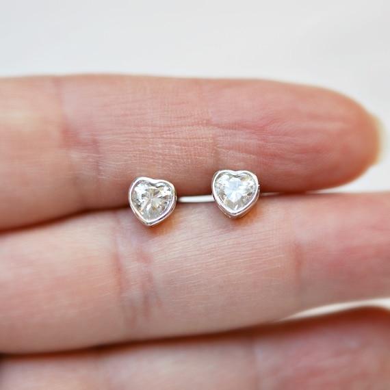 Sterling silver diamond heart stud earrings