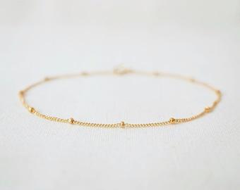 Satellite bracelet or anklet, gold satellite bracelet, sterling silver satellite bracelet, dotted chain, layering bracelet, dainty chain