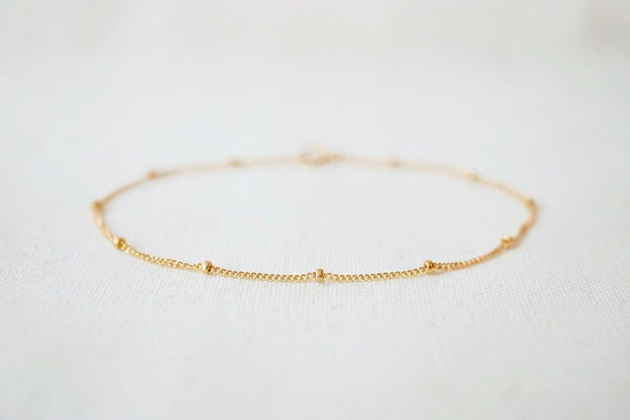 Satellite bracelet or anklet - gold filled or sterling silver