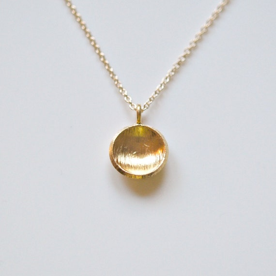 Round gold pendant necklace disk necklace sterling silver or etsy image 0 aloadofball Images