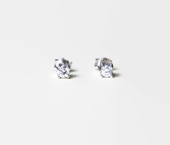 Tiny cubic zirconia stud earrings