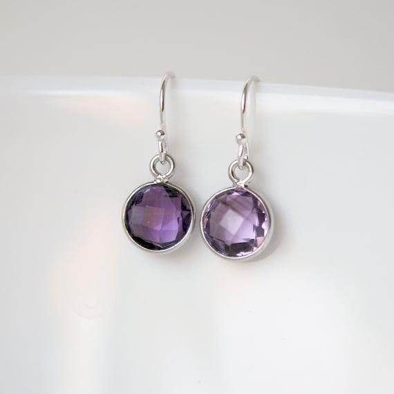 Amethyst earrings in sterling silver, purple gemstone, round bezel drop earrings, february birthstone, amethyst jewelry, womens earrings
