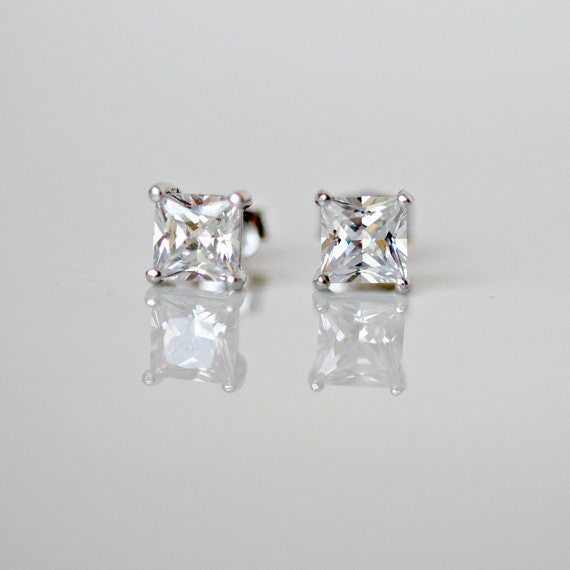 Cubic zirconia stud earrings - princess cut square