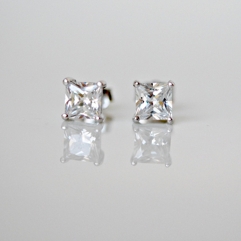 Diamond stud earrings sterling silver princess cut square