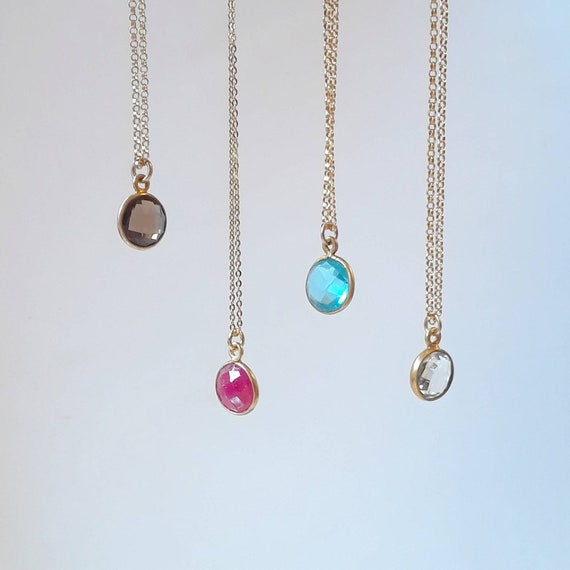 Round gemstone necklace, gold chain, crystal quartz necklace, ruby necklace, smoky quartz necklace, blue topaz necklace, gold rim gemstone