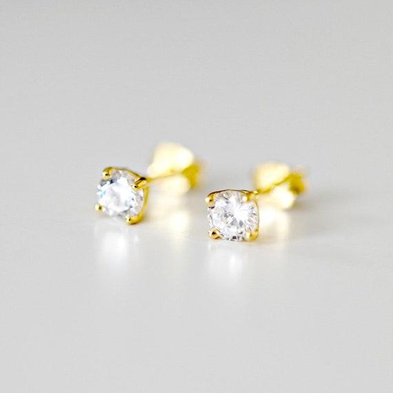 Tiny diamond earrings, 4mm cz studs, round cubic zirconia studs, square diamond studs, gold vermeil, crystal studs, simple diamond solitaire
