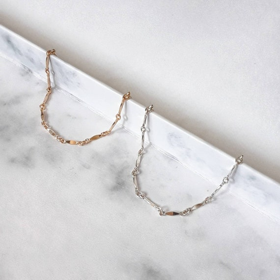 Gold or silver dainty link bracelet