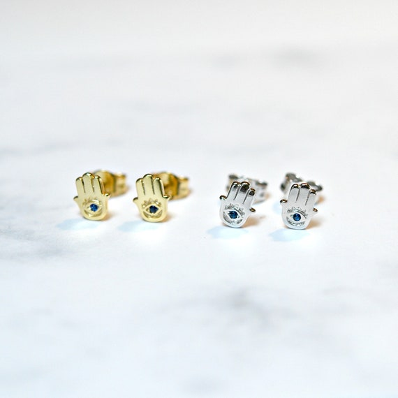 Hamsa studs in gold vermeil or sterling silver