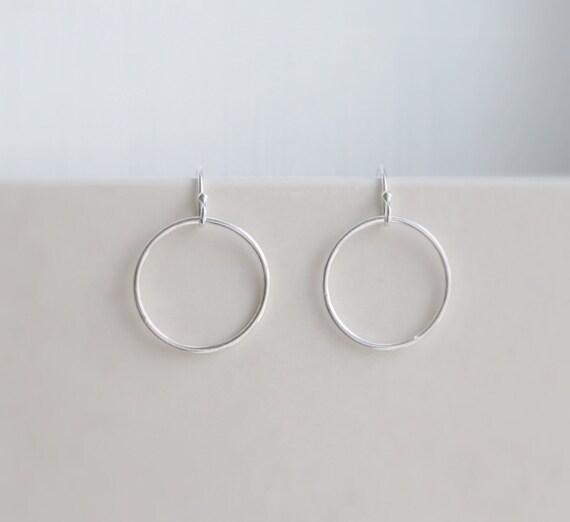 Silver circle earrings, sterling silver earrings, thin circle, silver hoop earrings, eternity earrings, simple earrings, minimalist jewelry