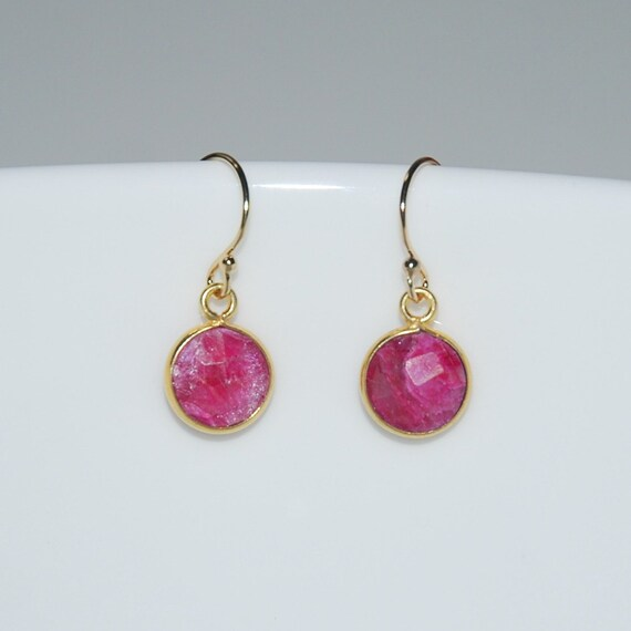 Gold and ruby drop earrings