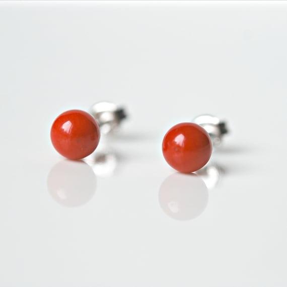 Gemstone earrings, red coral stud earrings, amethyst studs, rose quartz earrings, black onyx studs, turquoise earrings, tiger eye studs