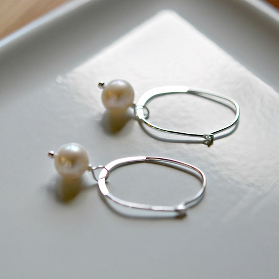 Sterling silver hoops with ivory pearl