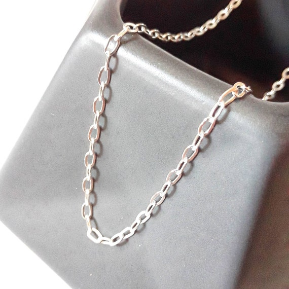 Dainty sterling silver flat cable chain