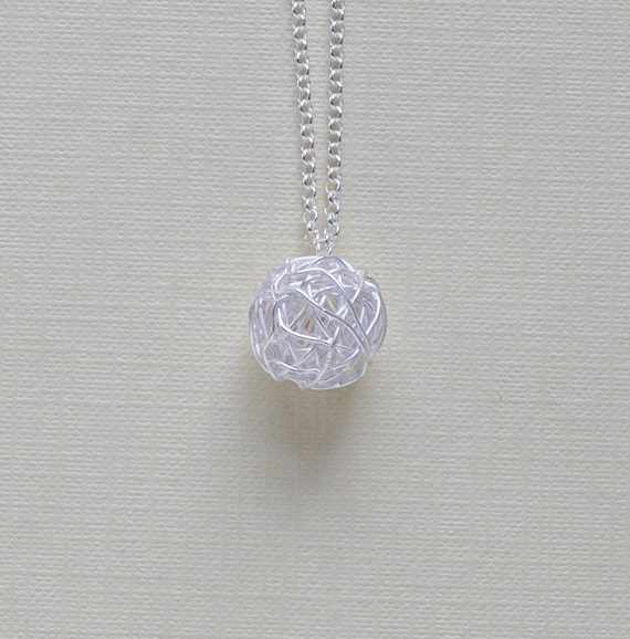 Sterling silver tangled ball necklace