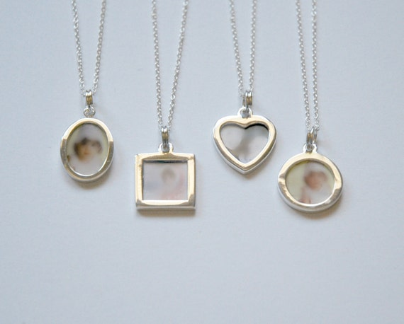 Sterling silver photo frame necklace