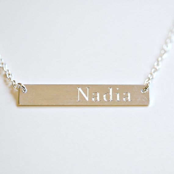 Engravable bar necklace in sterling silver bar