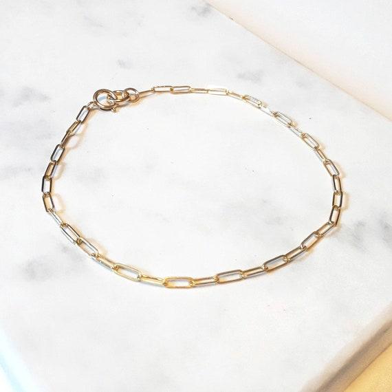 Gold paperclip chain bracelet, dainty gold bracelet, simple gold chain, gold staple chain, layering bracelet, delicate bracelet, chain link