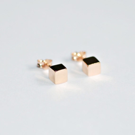 Cube stud earrings in rose gold, gold or sterling silver
