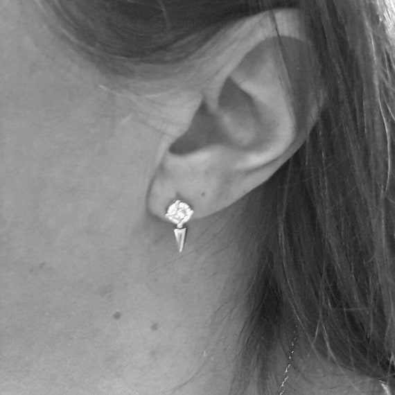 Sterling silver spike studs with cubic zirconias, diamond spike earrings, clear cubic zirconia, cz spike, modern diamond earrings edgy studs