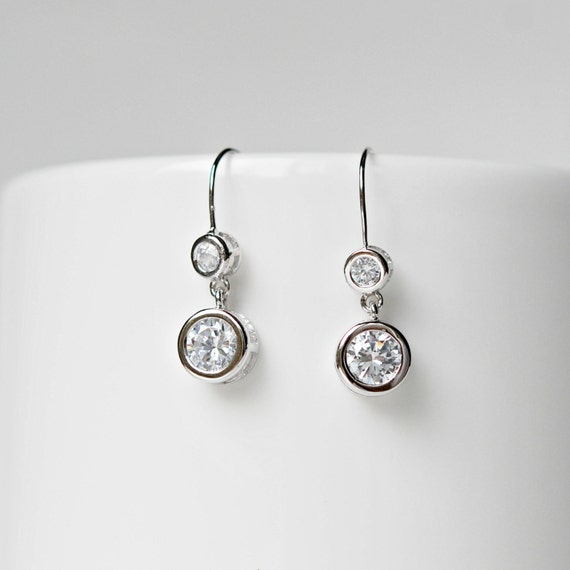Cubic zirconia double drop earrings - sterling silver, gold or rose gold