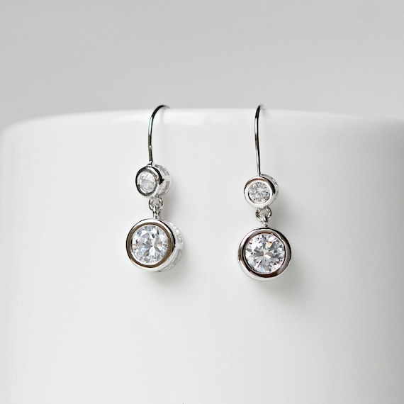 Cubic zirconia double drop earrings in sterling silver or rose gold