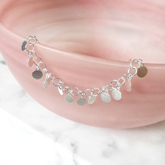 Sterling silver disks bracelet