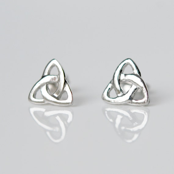 Celtic earrings, sterling silver studs, triangle, triquetra, silver celtic knot, irish earrings, infinity knot, simple, classic studs