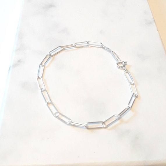 Sterling silver paperclip chain bracelet, 925 sterling silver bracelet, simple chain link bracelet, silver chain, layering bracelet