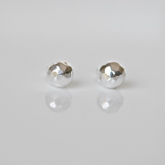 Sterling silver hammered ball stud earrings