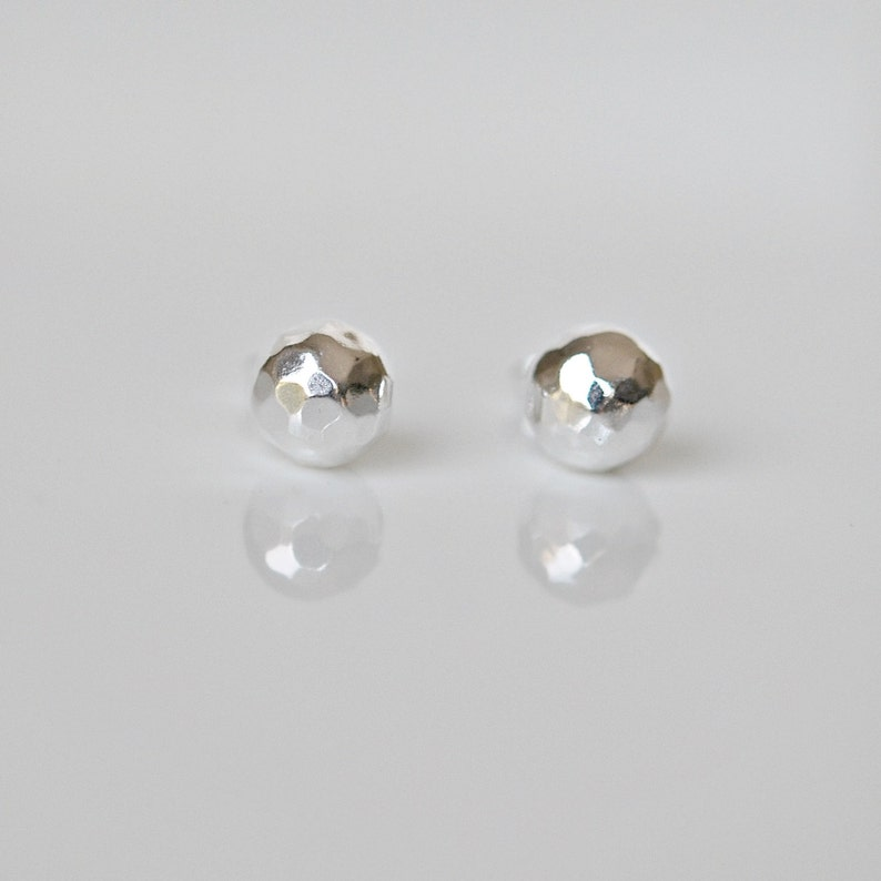 d510d0e52 Silver ball earrings sterling silver hammered ball 8mm ball   Etsy