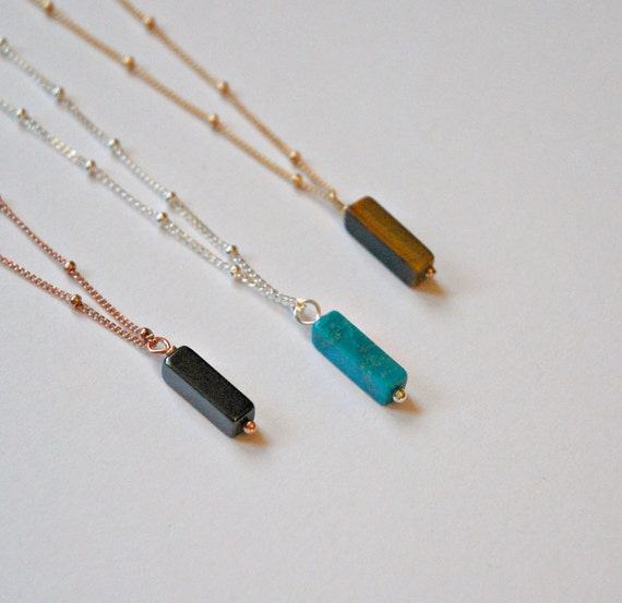 Gemstone bar necklace on satellite chain