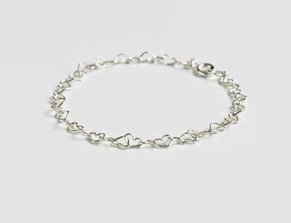 Sterling silver heart bracelet, hearts anklet, silver linked heart chain, wedding jewelry, bridesmaid gift, minimalist, flower girl gift
