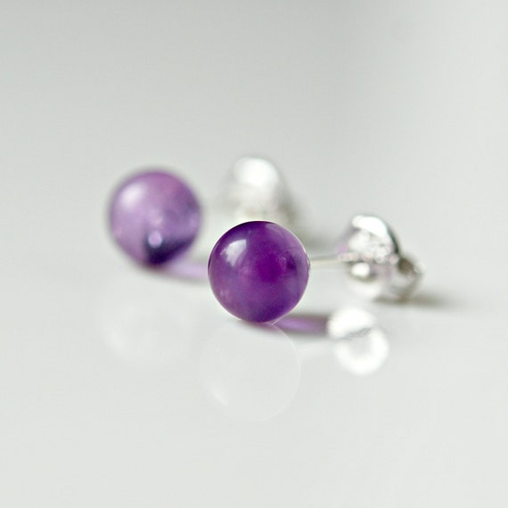 Gemstone ball stud earrings - choose a colour