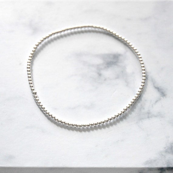 Sterling silver ball bracelet, 2mm balls, tiny ball, stacking bracelet, silver layering bracelet, modern minimalist jewelry for her