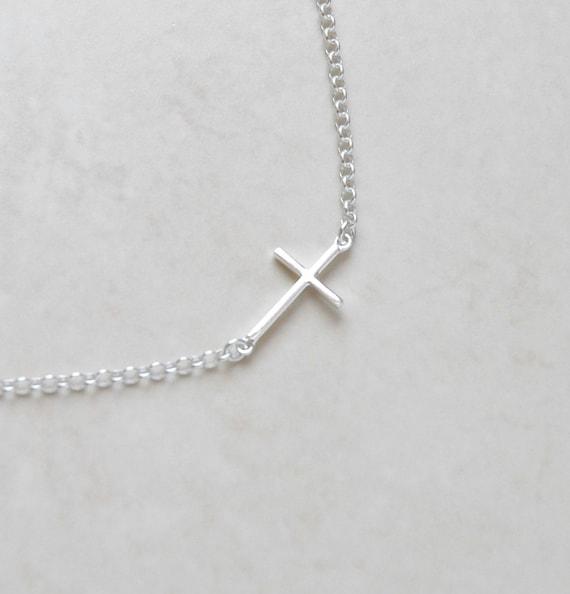 Sideways cross necklace, sterling silver sideway cross, tiny silver cross, modern christian jewelry, little girl gift, layering cross