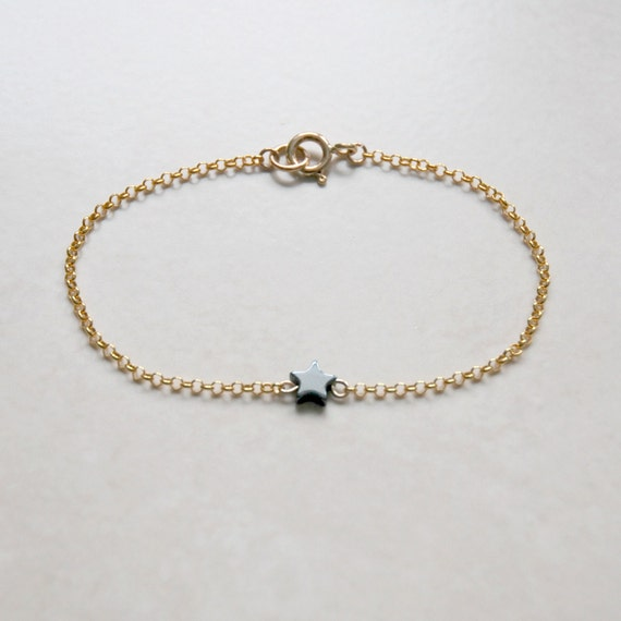 Black star bracelet, stocking stuffer, star anklet, sterling silver bracelet, gold anklet, hematite gemstone, star jewelry, lucky star