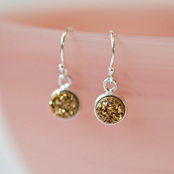 Tiny druzy earrings