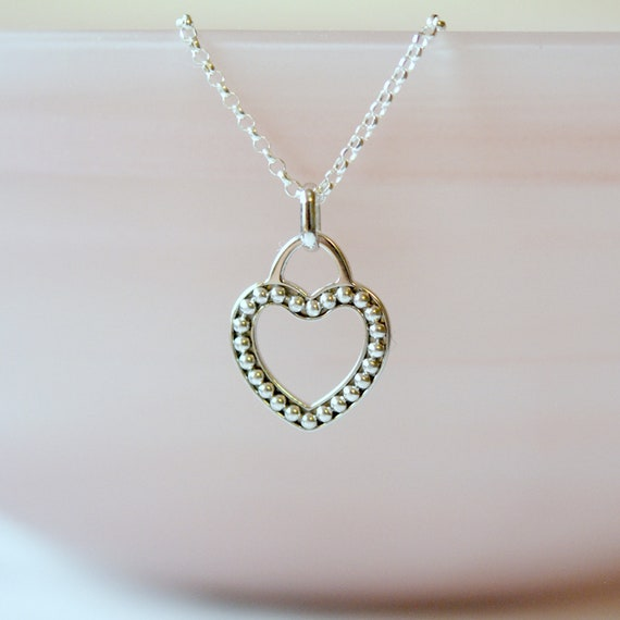 Sterling silver dotted heart necklace