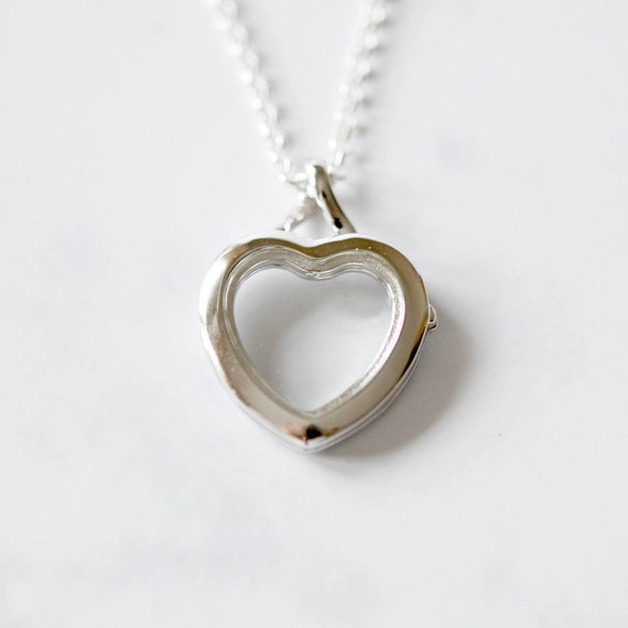 Sterling silver glass floating heart locket necklace
