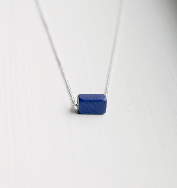 Blue ceramic cube necklace
