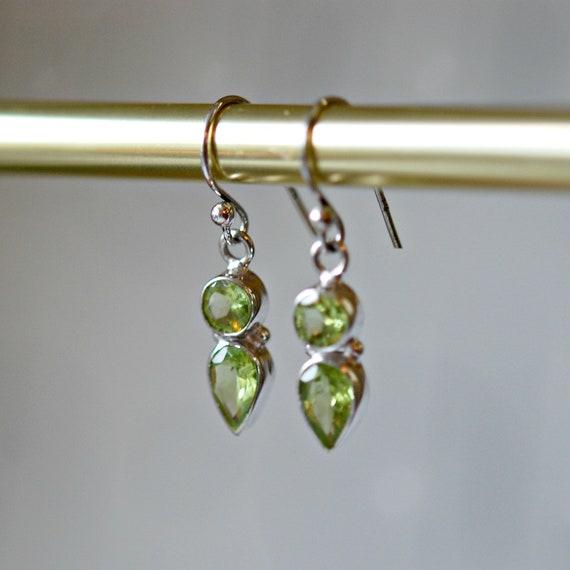 Green peridot earrings in sterling silver