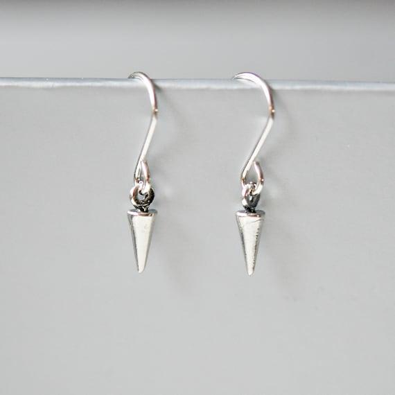 Sterling silver spike dangle earrings