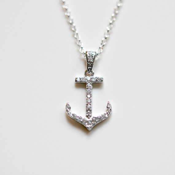 Cubiz zirconia and sterling silver anchor necklace