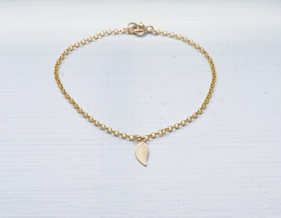 Gold leaf bracelet or anklet