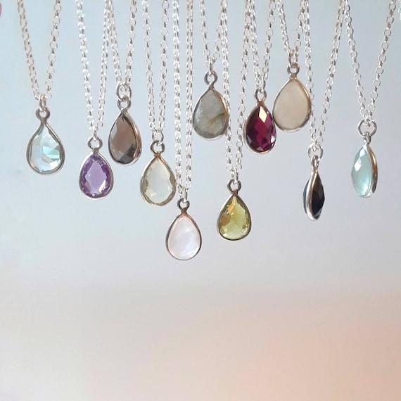 Gemstone teardrop necklace in amethyst, labradorite, rose quartz, black onyx, garnet, moonstone, peridot, blue topaz, sterling silver chain