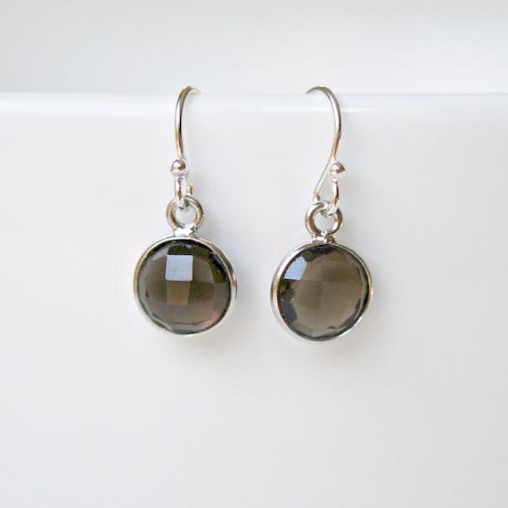 Smoky topaz earrings, brown gemstone earrings, sterling silver, drop earrings, bridesmaid gift, simple jewelry, womens earrings