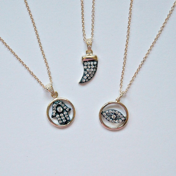 Hamsa, spike or eye necklace