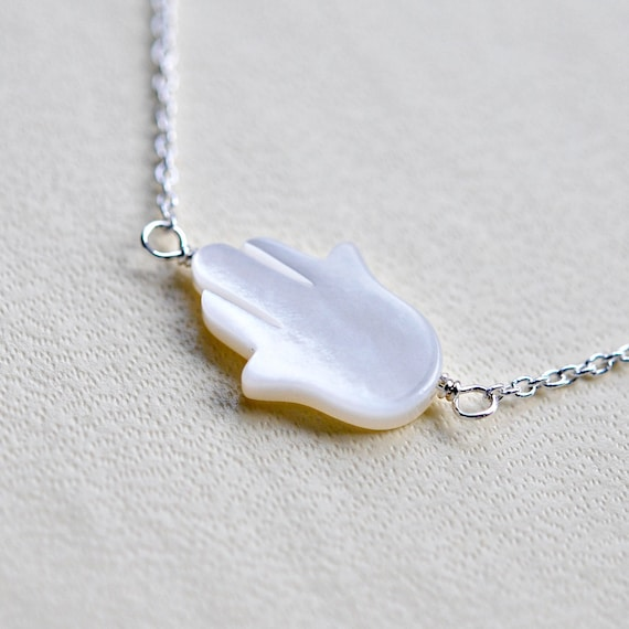 Pearl hamsa necklace in sterling silver